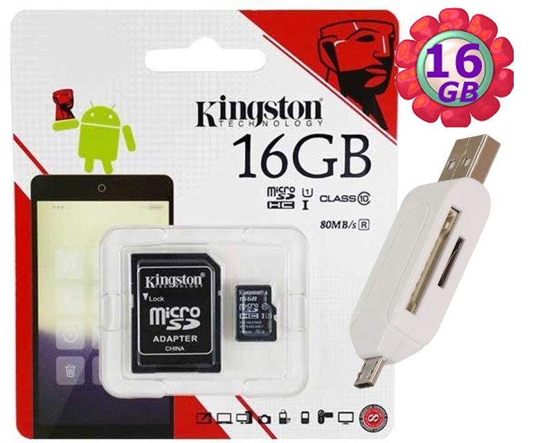 附T05 OTG 讀卡機 KINGSTON 16GB 16G 金士頓【80MB/s】microSDHC microSD SDHC micro SD UHS-I UHS U1 TF C10 Class10 手機記憶卡 記憶卡