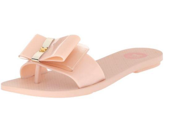 [陽光樂活]Zaxy(女) LIFE SLIDE Jelly Sandal 粉嫩青春 蝴蝶結 夾腳平底拖鞋-ZA8175190059 石英粉 玫瑰金