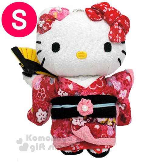 〔小禮堂〕Hello Kitty 造型玩偶娃娃吊飾《小.紅.站姿.和服裝扮.附珠鍊》葉朗彩彩