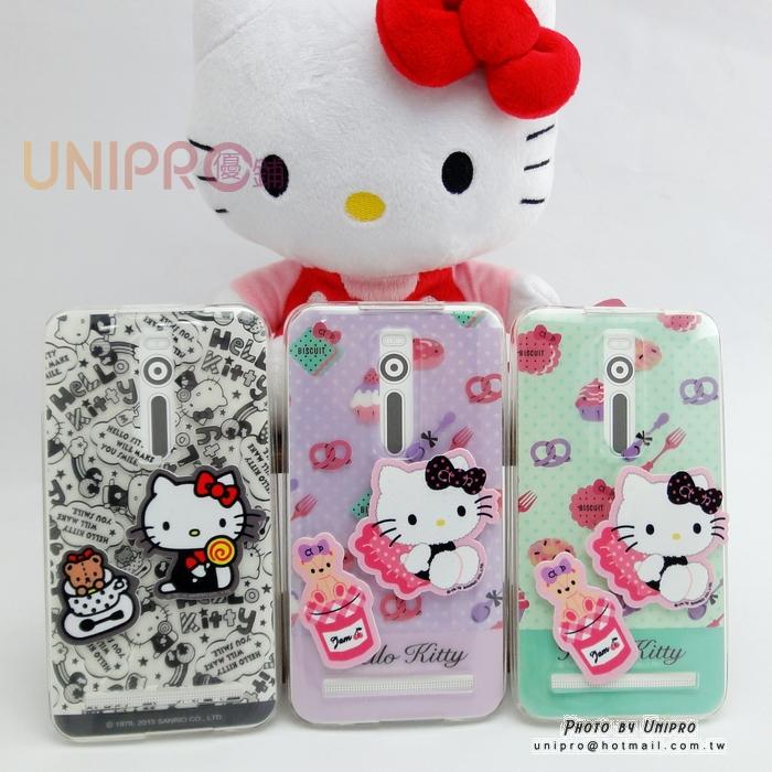 【UNIPRO】華碩 ZenFone2 5.5吋 Hello Kitty DIY透明 螢幕擦拭 手機殼 保護套 正版