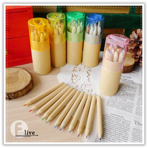 【aife life】無印12色圓筒色鉛筆/可削式鉛筆/削鉛筆機/12色鉛筆/迷你色鉛筆/插畫著色