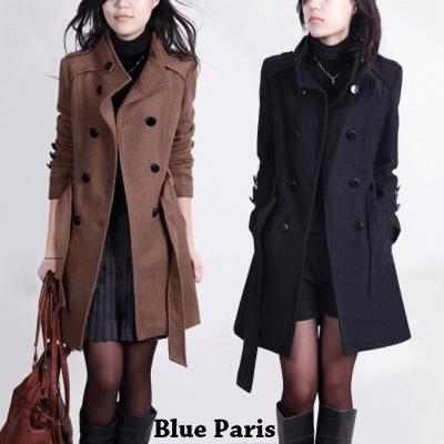 毛呢外套 - 韓版雙排釦翻領腰綁帶毛呢大衣【29031】藍色巴黎《2色》現貨+預購