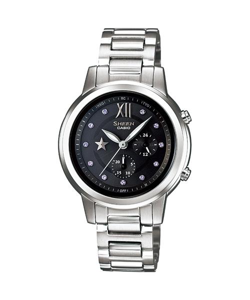 CASIO SHEEN SHE-7506D-1A旋星盤時尚腕錶/黑色33mm