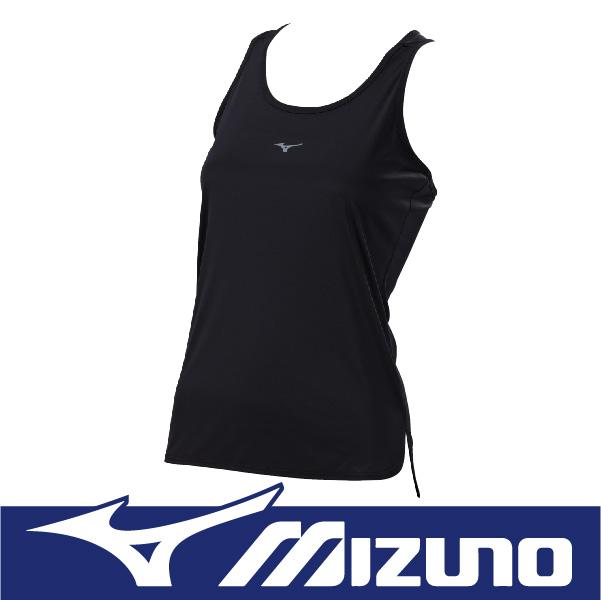 MIZUNO 美津濃 女性 運動路跑背心 瑜珈背心 吸汗快乾 防曬 反光 J2TA670609 素色 黑色