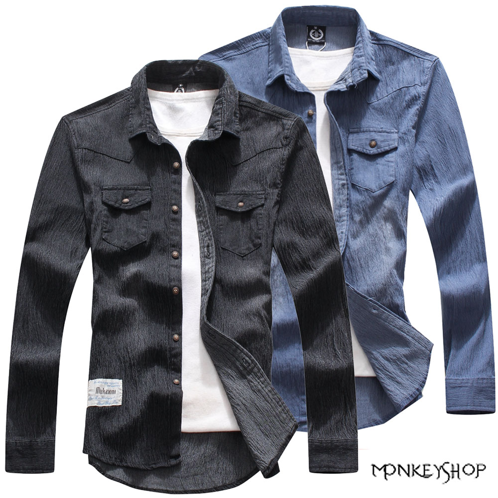 【BSN3814】韓版潮流個性單寧牛仔口袋設計長袖襯衫-2色《Monkey Shop》