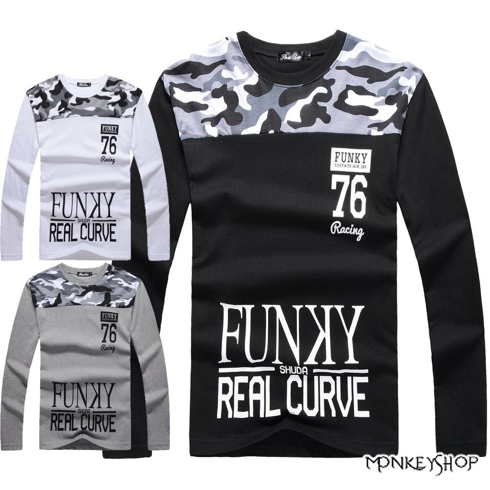 【A95023】FUNKY迷彩拼接印花設計長袖T恤上衣-3色《Monkey Shop》