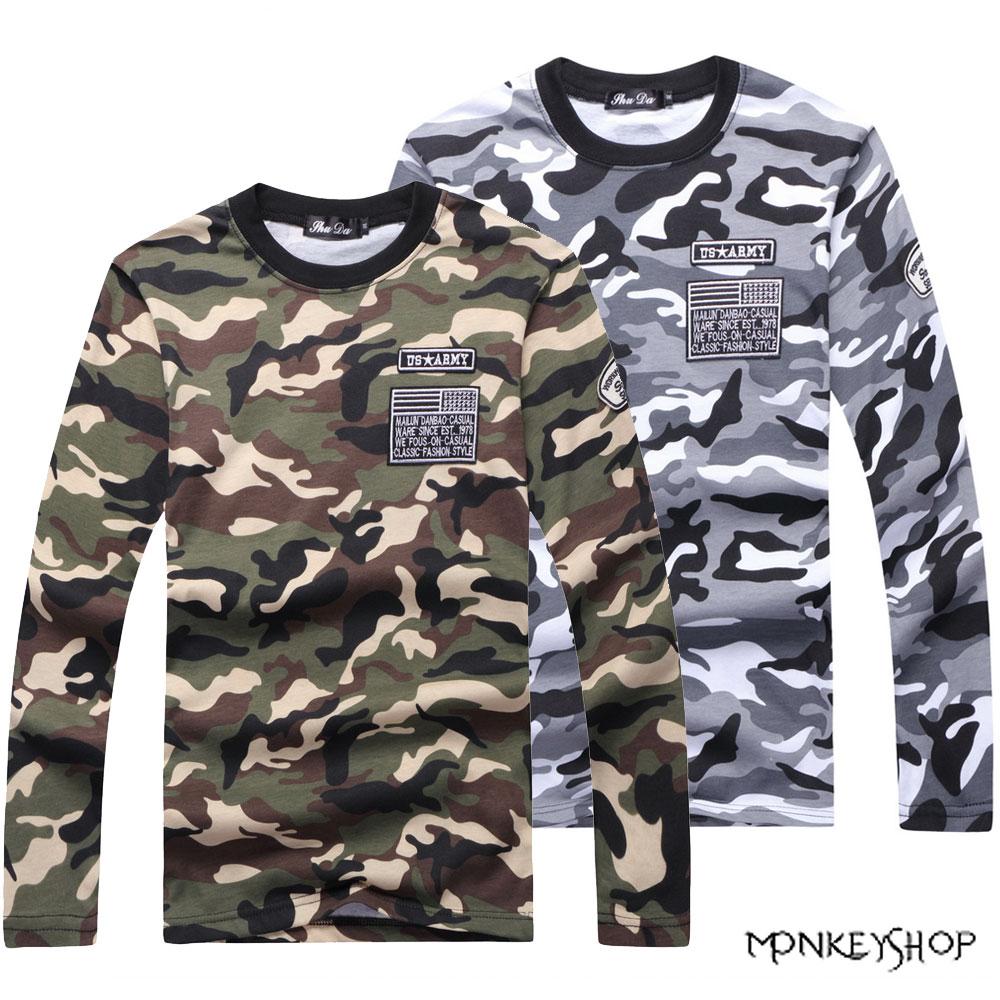 【A95035】軍感質感滿版迷彩長袖T恤上衣-2色《Monkey Shop》