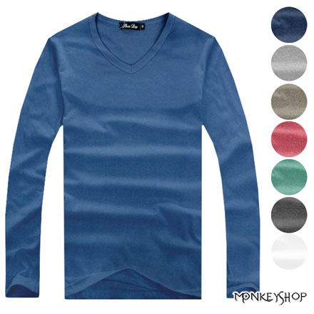 【A73531】MIT台灣製極簡日系多彩素色合身V領長袖T恤-10色《Monkey Shop》