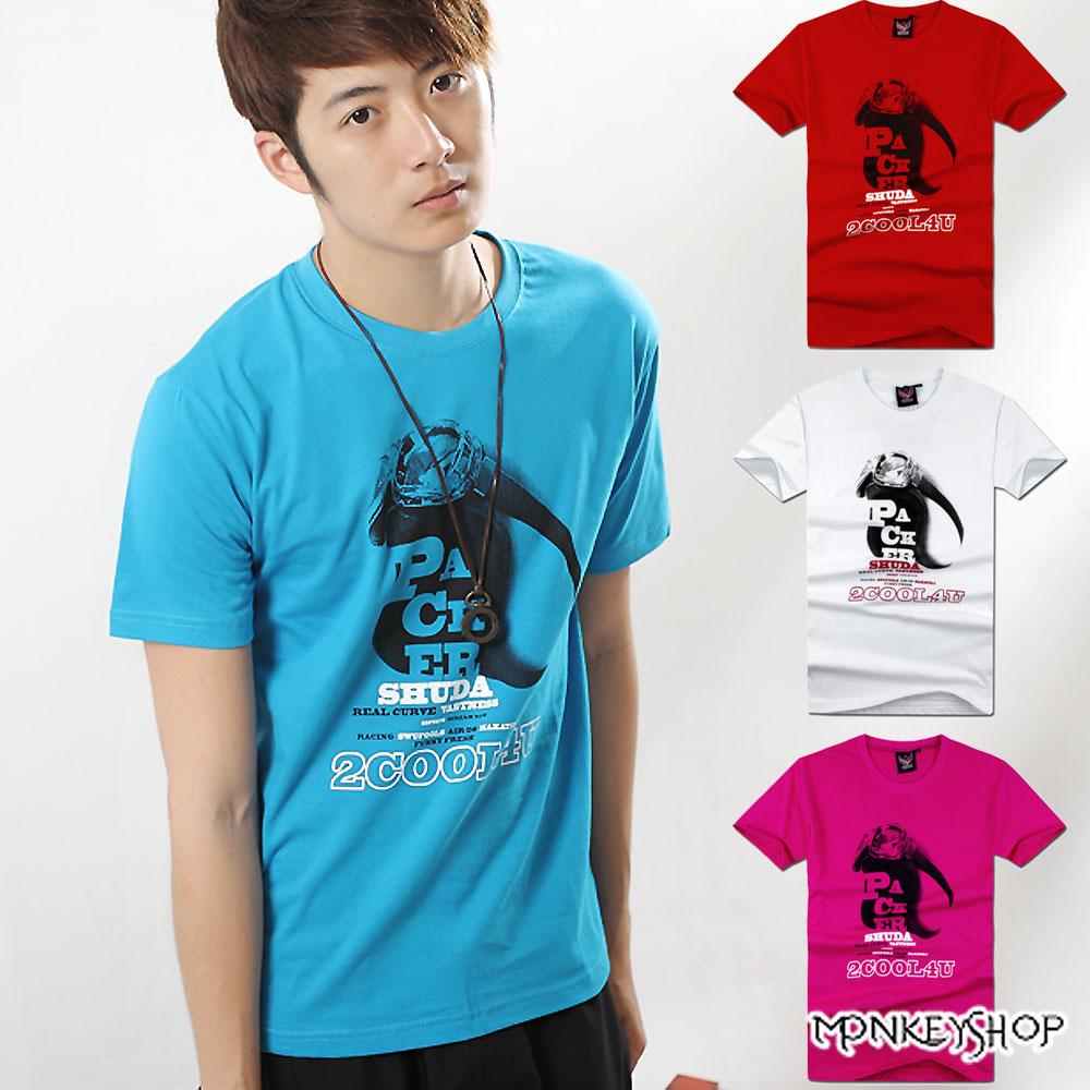 【A73871】MIT情侶款安全帽字母印花棉質短袖T恤-4色《Monkey Shop》