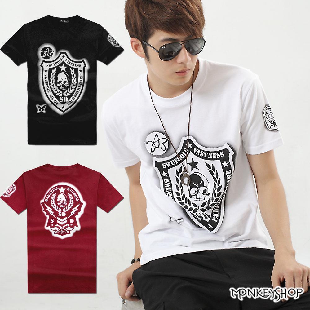 【A73905】MIT骷髏頭盾牌印花棉質短袖T恤上衣-3色《Monkey Shop》