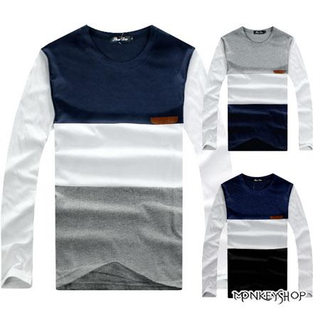 【A73951】MIT台灣製美式休閒橫條紋拼接口袋長袖T恤-3色《Monkey Shop》MIT台灣製韓系簡約拼色雅痞長袖T恤-3色
