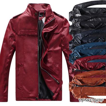【BJK3059】 韓版騎士風立領皮革質感皮衣夾克外套-6色《Monkey Shop》