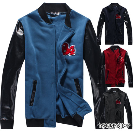 【BJK3413】韓版圖騰刺繡皮革拼接植絨棒球外套-4色《Monkey Shop》