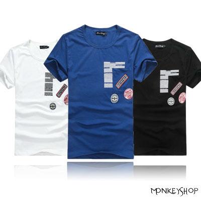 【BJK6304】韓系軍風質感徽章拼貼口袋設計棉質短袖T恤-3色《Monkey Shop》