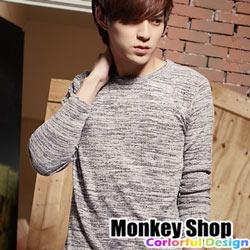 《Monkey Shop》【BJK6335】秋冬型男 韓風簡約 雪花長袖高彈性薄針織毛衣-三色