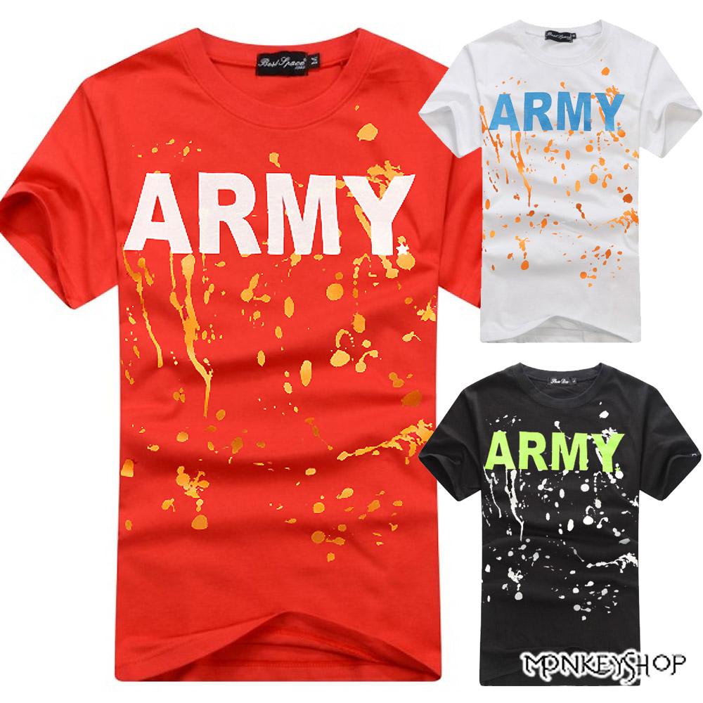 【C0056】MIT韓系潑漆ARMY純棉情侶短袖T恤-3色《Monkey Shop》