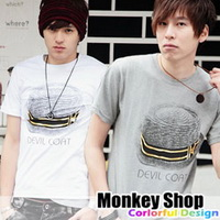 《Monkey Shop》雜誌推薦款 簡約百搭 燙金草編紳士帽帽帶短袖T恤2色