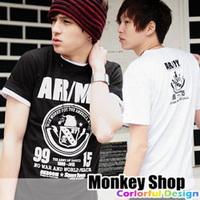 《Monkey Shop》雜誌推薦款 簡約百搭 黑白配色老鷹頭圖騰標ARMY短袖T恤2色