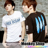 《Monkey Shop》【C1197】雜誌推薦款 簡約百搭 FREE OCEAN造型衝浪板印刷設計短袖T恤3色