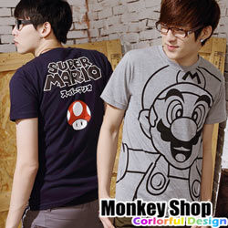 《Monkey Shop》【C30014】惡搞可愛大馬莉歐SUPER MARIO蘑菇純棉短袖T恤-二色