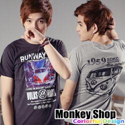《Monkey Shop》【C30023】韓版設計復古福斯小巴絨布短袖T恤-三色