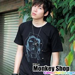 《Monkey Shop》經典搞笑 醜女挖鼻孔金蒼蠅圖案 惡搞潮流短袖t恤 2色