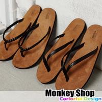 《Monkey Shop》【F592/F593】韓版型男首選 高質感素色麂皮底人字夾腳拖鞋 個性防滑底海灘夏日必備 MIT 2款