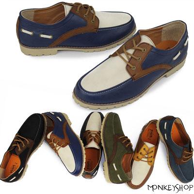 《Monkey Shop》【FKP81】韓版設計低筒皮革拼接紳士風休閒皮鞋 雅痞時裝 就愛MIT台灣製 6色