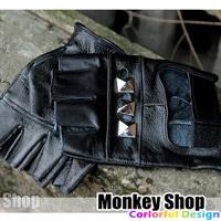 《Monkey Shop》羅志祥RAIN 箇中高手MV款 龐克搖滾縷空方型龐克鉚釘露指手套