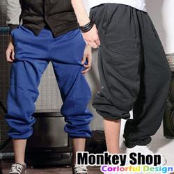 《Monkey Shop》街頭潮流超高磅數厚棉 素面百搭純棉刷毛束口棉褲.5色 嘻哈hiphop