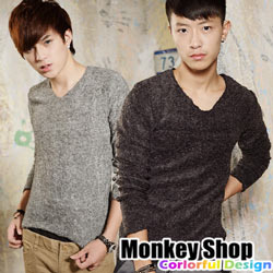 《Monkey Shop》【JB2240】潮流風格 型男首選 韓版簡約保暖素面彈性針織毛衣-四色