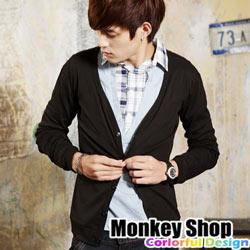 《Monkey Shop》嚴選基本款 韓風開襟棉質v領小外套罩衫-四色