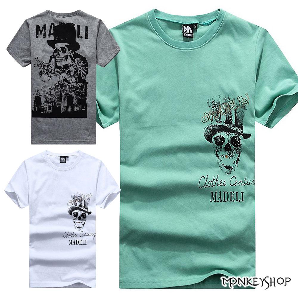 【M30063】MIT純棉龐克紳士帽骷髏印花棉質短袖T恤-3色《Monkey Shop》