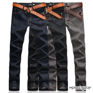 《Monkey Shop》【M55510】高磅數窄版經典原色丹寧 型男潮流 百搭眼鏡皮標深色牛仔褲-3色