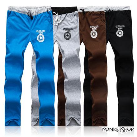 【M85809】星星膠印鬆緊抽繩設計休閒長棉褲-4色《Monkey Shop》