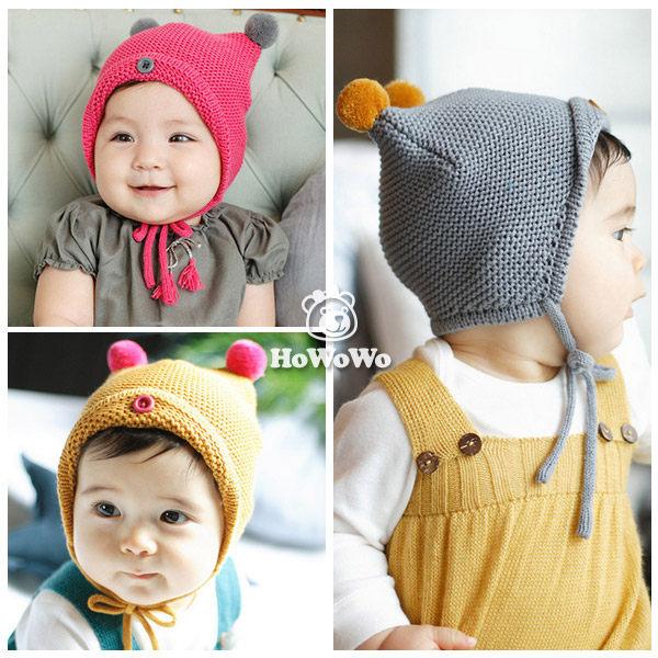 寶寶帽  雙球針織毛線帽 嬰兒帽 童帽 套頭帽 BU1445