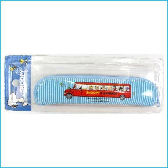 asdfkitty可愛家☆史努比藍色條紋巴士防水環保餐具袋/筆袋/收納袋-韓國正版商品