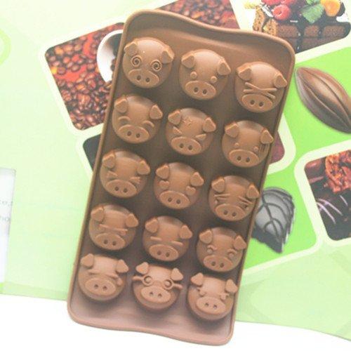 =優生活=15孔猪猪巧克力模具 DIY可愛猪猪圖案 肥皂模具 果凍布丁模具
