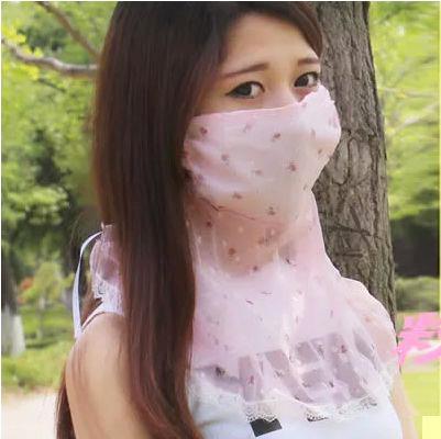 薄款蕾絲護頸口罩(隨機色)單入