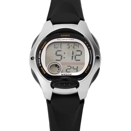 CASIO卡西歐 時尚黑銀配色多功能休閒運動女腕錶童錶 十年電力系列 柒彩年代【NE1803】原廠公司貨