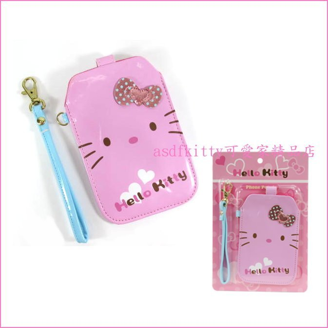 asdfkitty可愛家☆KITTY愛心手機袋/手機套-附手提帶-5吋之內手機可用-不包含保護套-香港正版商品