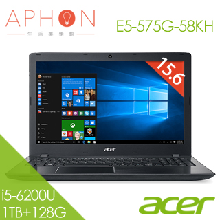 【Aphon生活美學館】ACER E5-575G-58KH 15.6吋 Win10 2G獨顯 筆電(i5-6200U/4G/1T+128G SSD)-送4G記憶體(需自行安裝)+acer保溫杯