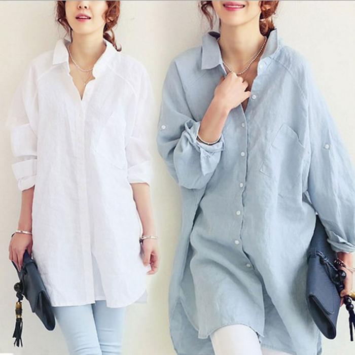 糖衣子流行館【CZ8103】韓版時尚寬鬆休閒百搭棉麻長版襯衫(預購款10天)