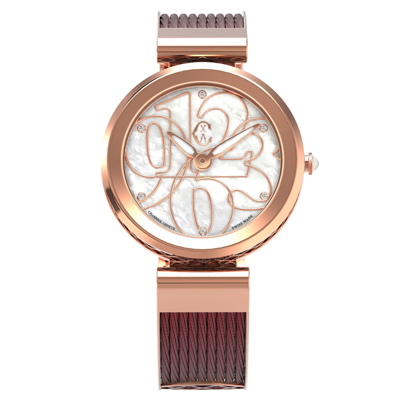 CHARRIOL夏利豪(FE32.R02.002)Forever系列半鋼索數字時尚腕錶/珍珠母貝面32mm