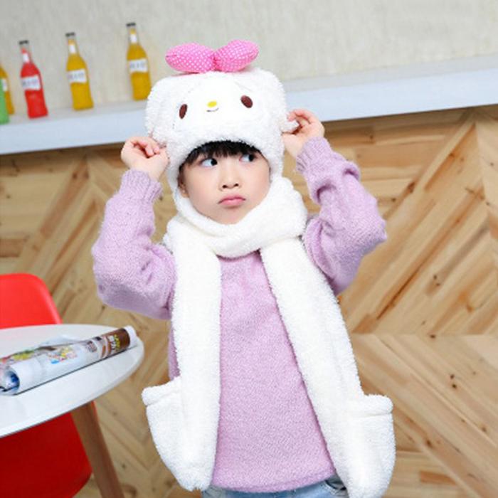 糖衣子輕鬆購【DS214】韓版毛絨加厚保暖兒童可愛兔耳朵圍脖圍巾手套帽子三件一體