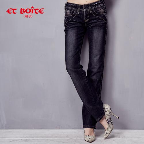 【ET BOiTE 箱子】 LeJean黑灰色帥氣小直筒牛仔褲