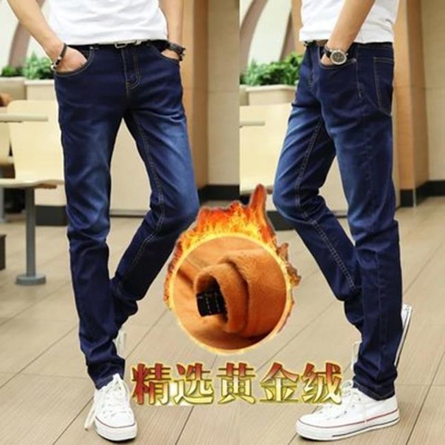50%OFF【D014759P】春季新款韓版修身男士小腳牛仔褲藍色馬騮黃金絨加絨保暖