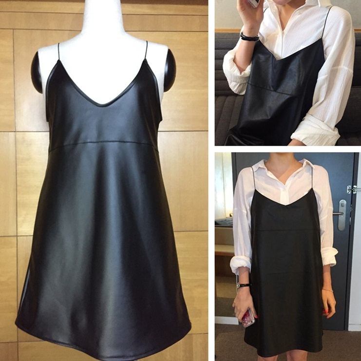 PS Mall 秋季新款韓版吊帶前後V領顯瘦短裙PU皮背帶連身裙 洋裝【T2759】