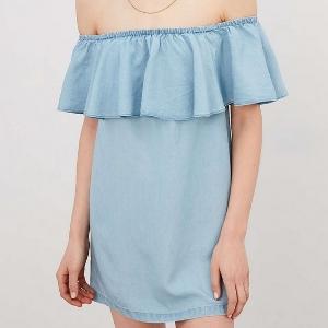 美麗大街【IR2370】歐美純色荷葉邊一字領連身裙