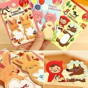 =優生活=韓國文具 Animal Fusen貓咪 小紅帽與大野狼 小兔子 趣味造型便條紙 便條簽 N次貼 MEMO 不挑款